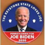 Biden  7E  -  The Keystone State Loves Joe Pennsylvania For Joe Biden 2020  Campaign Button