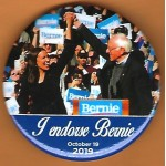 D2020 - 24E   I endorse Bernie October 19 2019  Campaign Button
