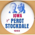 3rd Party 15N - Iowa for  Perot Stockdale 1992 Campaign Button