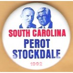3rd Party 34J - South Carolina for Perot Stockdale 1992 Campaign Button