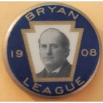 Bryan 7B - Bryan League 1908 Campaign Button