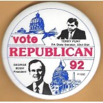 Bush 15F - Vote Republican 92 Terry Punt PA State Senator, 33rd Dist George Bush President  Campaign Button