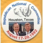 Bush 23A - Republican National Conventionn Houston , Texas August 17 -20, 1992 (Bush Quayle) Campaign Button