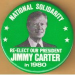 Carter 40M - National Solidarity Re-Elect Our President Jimmy Carter in 1980 Campaign Button