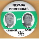 Clinton 27K - Nevada Democrats For Clinton Gore '96 Campaign Button