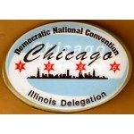 Clinton 2L - Democratic National Convention Chicago 1996 Illinois Delegation Campaign Button