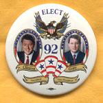 Clinton 40A - Elect Clinton President Gore Vice President 92 Campaign Button