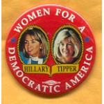 Clinton 78A  - Women For A Democratic America Hillary Tipper Campaign Button