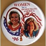 Clinton 78D  - Women For A Democratic America Hillary Tipper '96 Campaign Button