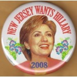 Hillary 79D - New Jersey Wants Hillary 2008 Campaign Button