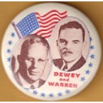 Dewey 1K - Dewey and  Warren Campaign Button