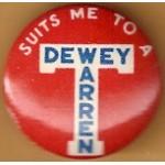 Dewey 1M - Suits Me To A T Dewey Warren Campaign Button