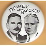 Dewey 4M - Dewey and  Bricker Campaign Button