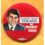 Dukakis 27A - Governor Michael Dukakis For President 1988 Campaign Button