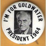 Goldwater 11H  - I'm For Goldwater President 1964 Campaign Button