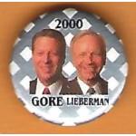 Gore 10J -  Gore  Lieberman 2000 Campaign Button