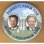 Gore 14J - Pennsylvania For Gore - Lieberman 2000 Campaign Button