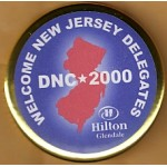 Gore 15D - Welcome New Jersey Delegates DNC 2000 Hilton Glendale Campaign Button