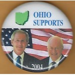 G. W. Bush 14F- Ohio Supports (Bush Cheney) 2004 Campaign Button