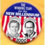 G.W. Bush 2H - The Winning Team for the New Millennium President George Bush Bob Taft Vice President Campaign Button