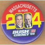 G. W. Bush 34C  - Massachusetts Is For Bush Cheney '04 Campaign Button