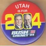 G. W. Bush 62A - Utah Is For Bush Cheney '04 Campaign Button