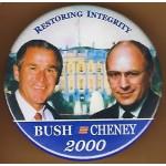 G.W. Bush 8G - Restoring Integrity Bush Cheney 2000 Campaign Button