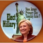 Hillary 43J - BC - Elect Hillary New Jersey Primary Day Tuesday June 7 Campaign Button