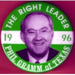 Hopeful 85H - The Right Leader 1996 Phil Gramm of Texas Campaign Button