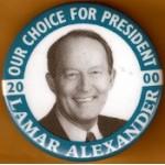 Hopeful 85L - Our Choice For President 2000 Lamar Alexander Campaign Button
