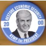 Hopeful 87J - Restore Economic Security 2000 Kemp For President Campaign Button