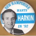 Hopeful 89N - New Hampshire Wants Harkin In  '92 Campaign Button