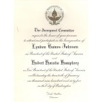 LBJ 8K - Inaugural Committee Lyndon B. Johnson Hubert H. Humphrey January 20th 1965 Paper Inauguration Invitation