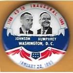 LBJ 9J - 1789 - 45th Inaugural  - 1965  Johnson Humphrey   January  20th  1965  Campaign Button