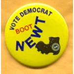 Labor 10B - Vote Democrat Boot Newt UAW Union Button