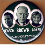 CA 22J - Brown Newsom Boxer California's Team 2010-Campaign Button