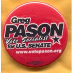 NJ 2E - Greg Pason Vote Socialist for U.S. Senate Campaign Button