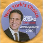 NY 9D - New York's Choice Andrew Cuomo Democrat Attorney General 2010 Campaign Button