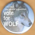 PA 11B - re-elect  the people's governor Vote for Wolf Campaign Button