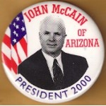 McCain 2E - John McCain Of Arizona  President 2000 Campaign Button