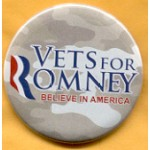 Romney 3B - Vets For Romney Believe In America Campaign Button