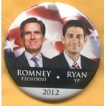Romney 8B - Romney President Ryan VP 2012 Campaign Button