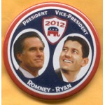 Romney 9B - President Vice-President Romney - Ryan Campaign Button