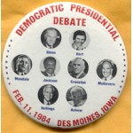 Mondale 15A  - Democratic Presidential Debate Feb. 11, 1984  Campaign Button