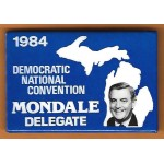 Mondale 9J  - 1984 Democratic National Convention Mondale Delegate Campaign Button