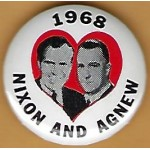 Nixon 28J -  Nixon And Agnew 1968 Campaign Button