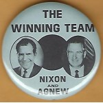 Nixon 29J - The Winning Team Nixon And Agnew Campaign Button