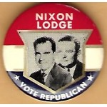 Nixon 98E - Nixon Lodge Vote Republican Campaign Button