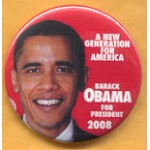 Obama 6A - Barack Obama For President 2008 Campaign Button