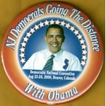 Obama 41D - NJ Democrats Going The Distance With Obama Aug 25-28,2008 Denver,Colorado Campaign Button
